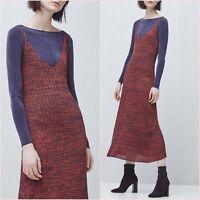 Orange Cable Knit Midi Dress Mango S M L UK 8 10 12 US 4 6 8 Zara Blogger ❤