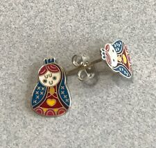Cute Virgencita Plis Our Lady Guadalupe Color 925 Silver Post Earrings Taxco