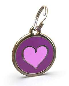 Pet Dog Cat ID Engraved Name Tag Personalized Stainless Steel Purple Heart