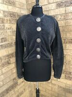 Double D Ranch Wear Black With Silver Shimmer Concho Button Down Top Women's M