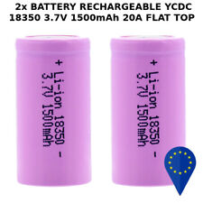 2x BATTERY YCDC 18350 1500mAh 20A 3.7v LITHIUM RECHARGEABLE BATTERIA FLAT + TOP
