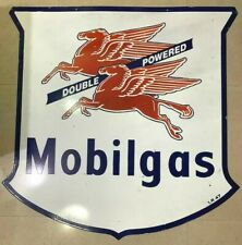 MOBILGAS DOUBLE POWERED LARGE 42 INCH PORCELAIN ENAMEL SIGN DOUBLE SIDE