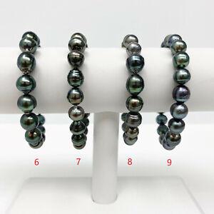 Tahitian Pearl Bracelet Multi-Colored Circled-Drop / Baroque 8-10mm Elastic Cord