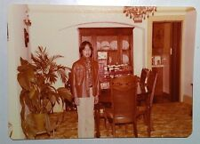 Vintage 70s Found PHOTO Asian Boy Leather Jacket In Living Room During Disco Era