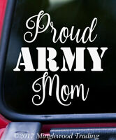 PROUD ARMY MOM Vinyl Sticker - US Military United States - Die Cut Decal