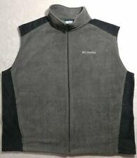 Columbia Men's Fleece Gray Black Vest Size XXLarge Zip Front Zip Pockets EUC.