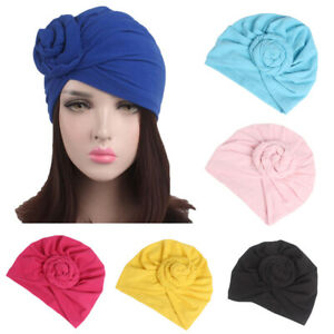 New Turban Muslim Beanie Flower Stretch Solid Color Hat Girl's Head Wraps Caps