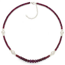 Sterling Silver Necklace 5mm, 9mm White Pearl & Graduated Red Ruby 18''