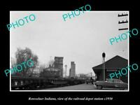 OLD LARGE HISTORIC PHOTO OF RENSSELAER INDIANA, THE RAILROAD DEPOT STATION c1950