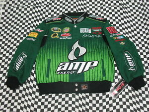 Dale Earnhardt Jr Green AMP KIDS/YOUTH NASCAR Jacket! Size Youth SMALL