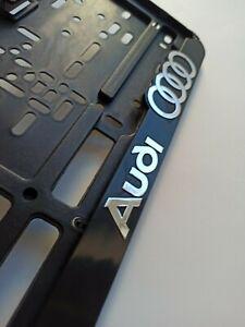 """Black EURO LICENSE PLATE TAG HOLDER MOUNT ADAPTER BUMPER FRAME BRACKET """"Audi"""""""
