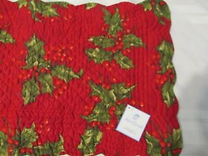 New April Cornell Christmas Holly  Reversible Plaid Quilted Table Runner