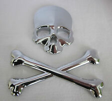 CHROME SKULL & CROSSBONES 3D BADGE - LAPTOP PC CASE EMBLEM DECAL SKELETON GOTH