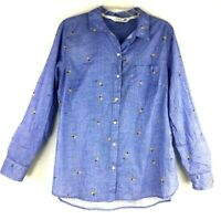 Old Navy The Classic Shirt button down long sleeve Womens sz:L Pineapple/avocado