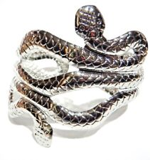 TWO-HEADED SNAKE CUFF stamped metal bracelet bangle band Egyptian asp deco 3Z