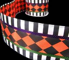 "5 Yds Halloween Orange Black White Jester Harlequin Striped Wired Ribbon 2 1/2""W"
