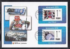 K 01) federale 2010 FDC-portocard individualmente-Kati Wilhelm e Andre Lange