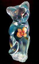 Fenton Art Glass Hand painted Sand Petals On Aquamarine Carnival Grooming Cat