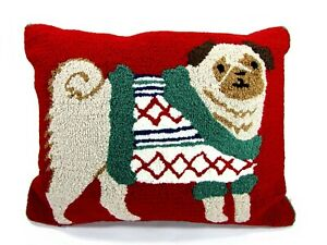 "Martha Stewart SNUG PUG 20"" x 16"" Hooked Pillow Red Green Christmas Dog Cotton"