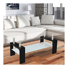 CORIUM TABLE BASSE EN VERRE NOIR D'APPOINT SALON HAUTE BRILLANCE