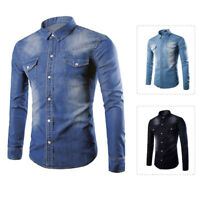Men's Long Sleeve Button-Down Vintage Denim Shirt Western Cotton Snap Up Tops