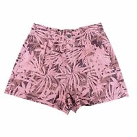 NWOT Free People Women's Shorts High Waist Cargo Pink Leaf Palm Print Size Large
