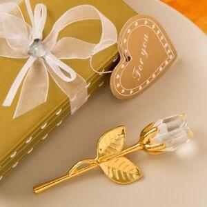 30 Gold Long Stem Clear Crystal Rose Wedding Bridal Shower Party Favors