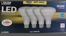 4 LED Bulbs FEIT Electric BR30 FLOOD 65W Dimmable Soft White Uses 11.5 Watts