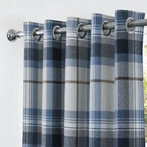 Highland Navy Blue Multi Tartan Checked Blackout Curtains Ring Top Eyelet Header