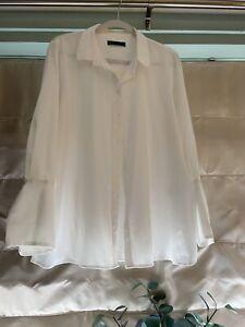 Ladies Marks & Spencer Beautiful Cream Satin Shirt/blouse Size 18.