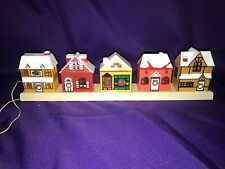 Vintage Plastic Christmas Lighted Village 5 House Strip by Tony Usa 1987~Holiday