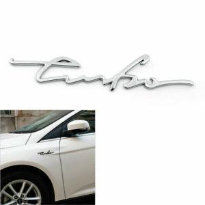 1PC 3D TURBO Words Sports Car Sticker Metal Emblem Rear Car Trunk Badge Silve
