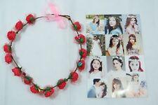 Women's delicate flower wreath festival Headband crown Red faux Roses