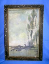 Antique Old Collectible Boating Landscape Hand Pastels Painting On Canvas Board