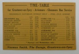 NORMAN SMITH u/d c1940s ~  BUS SERVICES TIMETABLE CARD