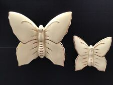 More details for vintage set of butterfly wall pocket vases. two sizes in pale yellow and gold.