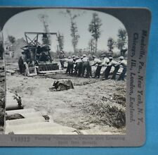 WW1 Stereoview Photo Feeding Grannie Twelve Men Lowering Shell Breach Keystone