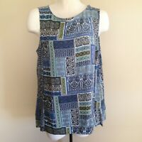 J. Jill Size L Blue Sleeveless Paisley Boho Print Tunic Top