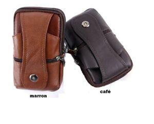 sacoche homme en cuir véritable,ceinture,à bandoulière pour téléphone,permis