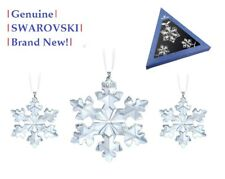 Swarovski 3x Crystal Snowflake 2016 Annual Christmas Ornament Set 5222332 MIB!