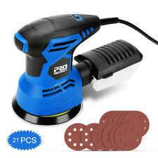 5-Inch Electric Randon Palm Orbit Sander with Dust Box, 21 Sanding Discs