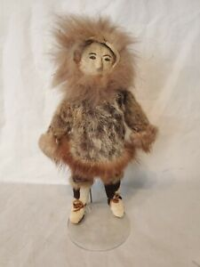 "Vintage Inuit Eskimo 11"" Man Doll With Leather Face Fur Coat"