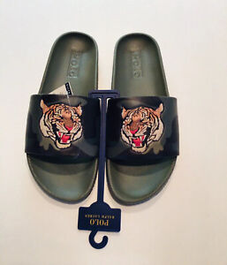 NWT (other) POLO RALPH LAUREN Green Camo Cayson Slides Tiger Head Sandals 11D