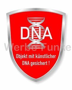2 Aufkleber Objekt mit künstlicher DNA gesichert 60 x 75 mm,