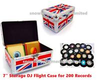 "Neo 7"" Inch LP 200 Vinyl Record Aluminium Flight DJ Storage Case UNION JACK UK"