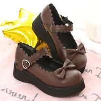 Womens Japanese Lolita Bowknot Flat Platform Tound  Cospaly Princess Shoes Zsell