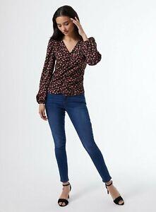 Ex Dorothy Perkins Ladies BLACK Spot print crinkle shirt Size 8-16