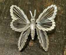 VTG Monet Signed Pin Brooch Butterfly Wire Silver Tone Antique Jewelry