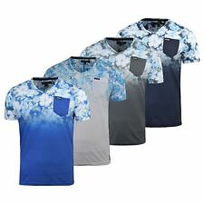 Mens Firetrap T-Shirt Fedette Floral Short Sleeve Vee Neck Cotton Print Tee Top