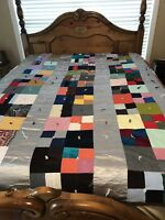"Brown Gray Satin Vintage Quilt Twin Size Made 83"" X 62"""